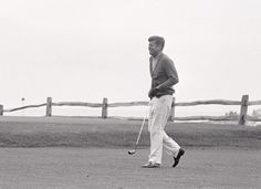 siphotos:    President John F. Kennedy plays golf at Hyannisport Club in Hyannis Port, Mass during a day off in July 1963. In honor of President's Day, SI has compiled a photo gallery of U.S. presidents playing sports. (Corbis).    GALLERY: U.S. Presidents At PlaySI VAULT: Palmer discusses golf with JFK (7.13.11)