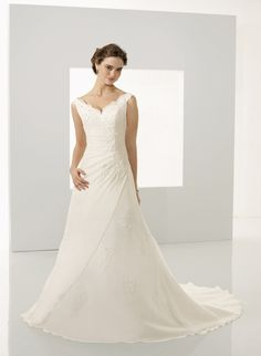 Wedding Dresses, Bridesmaid Dresses, Prom Dresses and Bridal Dresses Mori Lee Blu Wedding Dresses - Style 4527 - Mori Lee Blu Wedding Dresses, Spring Delicate chiffon with lace asymmetrical gown with a v-neckline. V Neck Wedding Dress, Wedding Dresses With Straps, Applique Wedding Dress, Wedding Dresses For Sale, White Wedding Dresses, Cheap Wedding Dress, Wedding Dress Styles, Wedding Party Dresses, Bridesmaid Dresses