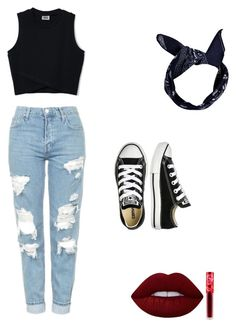 """Untitled #1"" by abby-burch on Polyvore featuring Topshop, Boohoo, Converse and Lime Crime"