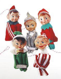 Vintage Christmas Elves Banner photo reproductions on felt