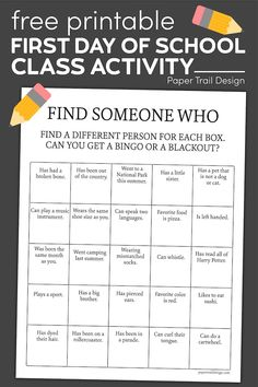 The perfect first day of school class activity to help your students get to know one another better and feel comfortable in your classroom. #papertraildesign #camp #summercamp #gettoknowyou #findsomeonewho #bingo #findsomeonebingo