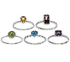 Sterling Silver 2.80 cttw S/5 Gemstone Rings by Or Paz