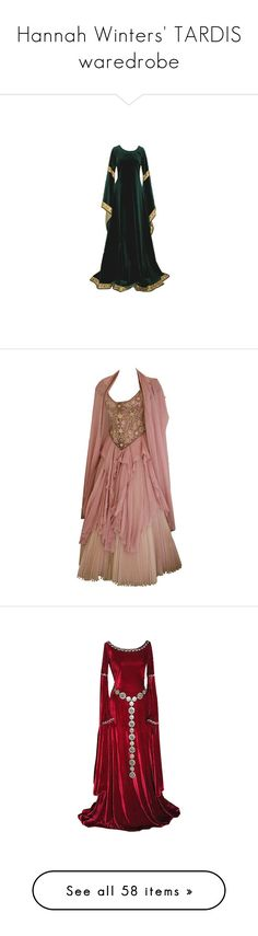 """""""Hannah Winters' TARDIS waredrobe"""" by alwaysapotter-head ❤ liked on Polyvore featuring dresses, gowns, medieval, long dress, fantasy, costume, brown, costumes, medieval dresses and medieval dress"""