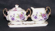 3-Piece Individual Sugar & Creamer Set with Violets $20  This set reminds me of my Grandmother, only hers was Moss Rose pattern