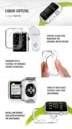 The Liquid Crystal case for the Apple Watch is made of a flexible yet durable clear TPU for a secure fit that exhibits the watch‰ۡó Iphone Apple Watch, Apple Watch 1, Apple Watch Bands, Phone Gadgets, Gadgets And Gizmos, Technology Gadgets, Apple Watch Accessories, Iphone Accessories, Apple Tv