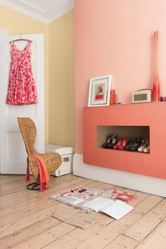 Peach and yellow - some of the new Dulux shades for 2013 (pinned from Achica) Best Bedroom Colors, Bedroom Paint Colors, Wall Colors, Dulux Paint Colours Peach, Coral Walls Bedroom, Colorful Decor, Colorful Interiors, Murs Pastel, Wall Color Combination
