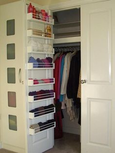 Organization ideas - Add shelving to the back of your closet door for extra storage, 20 Closet Organization Tips & Tricks. und tricks backen 20 Clever Closet Tips & Tricks - The Chic Site Wardrobe Organisation, Wardrobe Storage, Organization Hacks, Organizing Ideas, Organizing Small Closets, Wardrobe Closet, Bedroom Organization, Organising, Coat Closet Organization