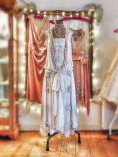 Joanne Fleming Design: Marthe; mother-of-pearl silk satin 1920s style wedding dress.....
