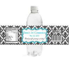 Damask First Communion Water Bottle Labels