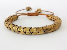 NEW Brass Snake Bone Vertebrae Bracelet, Unisex Heavy Snake Tribal Bracelet,  Adjustable Gold Vertebrae Bracelet