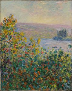 Claude Monet, Flower Beds at Vétheuil, 1881. - at Boston Loves Impressionism with Michael 5/17/14