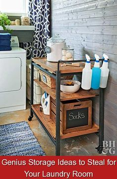Genius Storage Ideas to Steal for Your Laundry Room {974106} #laundry #storage #ideas #laundrystorageideas Wash away clutter with these smart tips and tricks.
