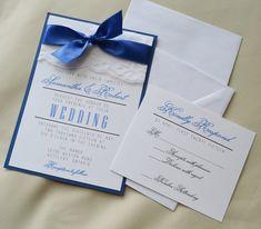 Set of 20: Royal Blue Wedding Invitation, White and Royal Blue Invitation, Lace Invitation, Panel Invitation Set with RSVP