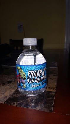 Marvel Avenger water bottle labels Fiji Water Bottle, Water Bottle Labels, Vodka Bottle, Avenger Party, Avengers Birthday, Marvel Avengers