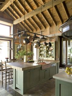 kitchen with green cabinets and hanging pots. Kitchen Interior, New Kitchen, Kitchen Decor, Kitchen Rustic, Kitchen White, Rustic Kitchens, Hanging Pots Kitchen, Hanging Pans, Modern Country Kitchens