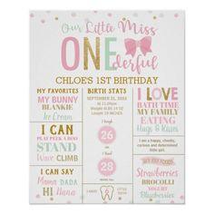 Little Miss Onederful Pink Milestone Birth Stats Poster: Little Miss Onederful Pink Milestone Birth Stats Poster $14.30 by LollipopParty Baby 1st Birthday, Birthday Board, 1st Birthday Parties, Milestone Birthdays, First Birthdays, Little Miss, Birthday Supplies, Custom Posters, Custom Framing