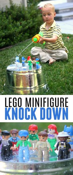 This LEGO Minifigure Knock Down Game using water guns is such a fun outdoor summer activity! This LEGO Minifigure Knock Down Game using water guns is such a fun outdoor summer activity! Lego Activities, Fun Activities For Kids, Lego Duplo Games, Water Activities, Pokemon Lego, Outdoor Summer Activities, Outdoor Water Games, Outdoor Fun For Kids, Backyard For Kids