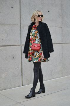 Oasap printed peplum dress and fuzzy coat, red bag, leather leggings, black patent booties