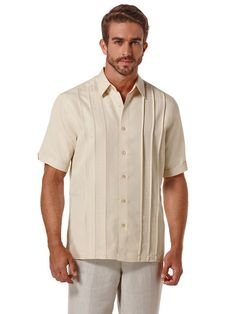 You can't go wrong with Cubavera. These shirts are really nice (in my opinion)   Short Sleeve Shirt with Geometric Embroidery
