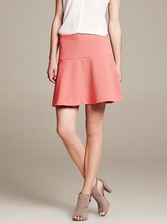 Coral Ponte Fit-and-Flare Skirt Product Image