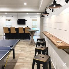Offer your basement walls a rustic appearance without breaking the bank or burglarizing sweat. Utilizing peel and stick wood boards is a simple and economical way to solve a bare and dull cement wall. Basement Makeover, Basement Renovations, Home Renovation, Home Remodeling, Game Room Basement, Basement House, Basement Ideas, Modern Basement, Playroom