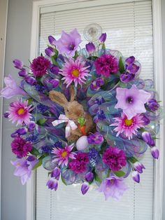 Items similar to Plaid Deco Mesh Wreath with Bunny, Mesh Wreath, Spring Wreath, Easter Bunny Wreath, Easter Wreath on Etsy Wreath Crafts, Diy Wreath, Wreath Ideas, Easter Wreaths, Holiday Wreaths, Easter Crafts, Easter Ideas, Bunny Crafts, Easter Projects