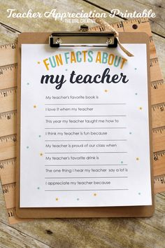 Teacher Appreciation Printable | Surprise your child's teacher with this Fun Facts About My Teacher questionnaire that your kids can fill out. I don't know a teacher who wouldn't love to receive one of these fun prints.