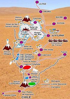MAPA DEL SALAR DE UYUNI - TURISMO BOLIVIA PERU