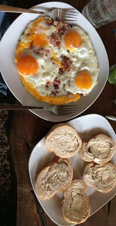 Bacon and Eggs Bacon, Eggs, Snacks, Breakfast, Food, Food Portions, Easy Meals, Cooking, Meal