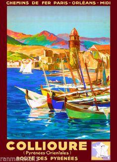 Collioure-France-French-Europe-European-Vintage-Travel-Advertisement-Art-Poster