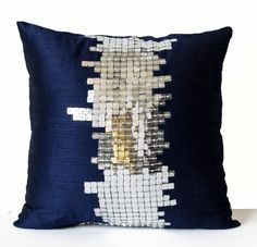 This Navy Blue Silk Pillows Silver Pillows Decorative Throw is just one of the custom, handmade pieces you'll find in our decorative pillows shops. Blue Cushions, Blue Throw Pillows, Accent Pillows, Nautical Pillows, Cheap Decorative Pillows, Decorative Pillow Cases, Sequin Pillow, Silk Pillow, Genius Ideas