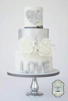 Silver glitter on a wedding cake that speaks of Modern Love Beautiful Wedding Cakes, Gorgeous Cakes, Pretty Cakes, Amazing Cakes, Unique Cakes, Creative Cakes, Fondant Cakes, Cupcake Cakes, Silver Cake
