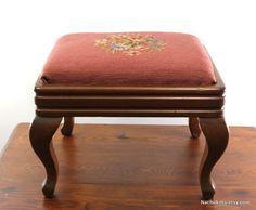 1940s Footstool Wood & Embroidery Vintage Ottoman by Nachokitty, $75.00