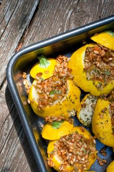 Pretty In The Pan Stuffed Patty Pan Squash {add chopped basil or sage, a little crumbled chicken sausage and salt/pepper the inside of the squash before filling}