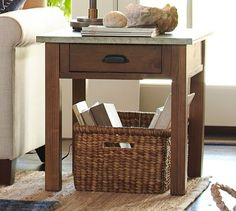 Channing Wood & Galvanized Metal Side Table