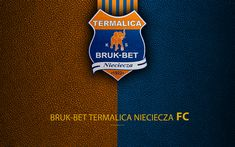 Download wallpapers Bruk-Bet Termalica Nieciecza FC, 4k, football, emblem, logo, Polish football club, leather texture, Ekstraklasa, Nieciecza, Poland, Polish Football Championships