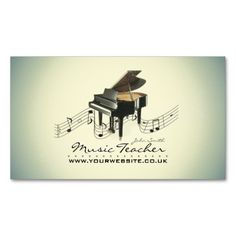 Elegant Business Card design featuring a Grand Piano and musical notes; Perfect for Musicians, Bands, Teachers etc