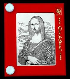 Mona Lisa. I had a goal of pinning a reinterpretation of Mona Lisa to every one of my boards. There are so many parodies and such diversity, this was possible. But now I've put them on their own board. Here the likeness is rendered in an Etch-a-Sketch.