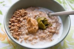 Creamy steel cut oatmeal with egg white // use almond milk instead and add chia seeds