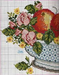 ВАЗА С ФРУКТАМИ И ЦВЕТАМИ - НАТЮРМОРТ - СХЕМЫ ВЫШИВКИ КРЕСТИКОМ - Каталог файлов - ХОББИ Cross Stitch Fruit, Cross Stitch Kitchen, Cross Stitch Boards, Cute Cross Stitch, Cross Stitch Rose, Cross Stitch Flowers, Needlepoint Stitches, Counted Cross Stitch Patterns, Cross Stitch Designs