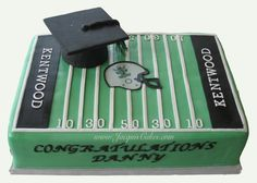 9x13 Sheet Cake Coved In Fondant To Look Like A Football Field With