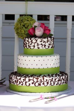 Wedding Cake idea except change the colours from green and brown to purple and ...