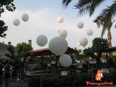Globos gigantes blancos para una tarde perfecta.