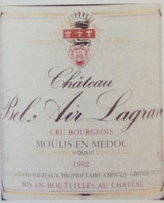 Chateau Bel Air Lagrave Moulis-en-Medoc Cru Bourgeois (1982). Brown colour. No oxidation aromas. Medium aromas of waxy cheese. Drying in the mouth. No acidity. A bit limp. Medium length. Laithwaites. £36