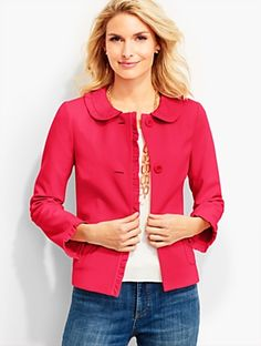 Talbots - Ruffle-Trimmed Ponte Jacket | | Discover your new look at Talbots. Shop our Ruffle-Trimmed Ponte Jacket for stylish clothing and accessories with a modern twist at Talbots