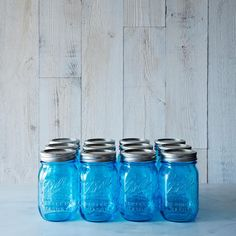 Ball American Heritage Collection Pint Jars (Set of For canning, for flowers, for sitting on the shelf and looking pretty. Pint Mason Jars, Blue Mason Jars, Mason Jar Lamp, Object Lessons, Ball Jars, Up House, Canning Jars, Soy Candles, Rustic