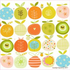 Love the whimsical pattern:  Apples and Oranges - ecojot carolyn gavin