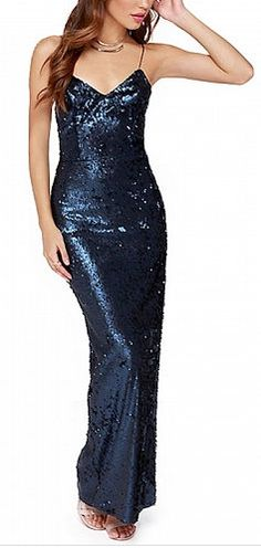 Navy Blue Spaghetti Strap Sequined Dress