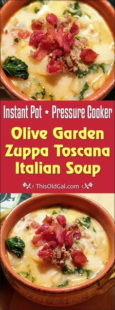 Pressure Cooker Olive Garden Zuppa Toscana Italian Soup tastes just like the famous soup you get at the restaurant, but is on your table in less than 30 minutes. via @thisoldgalcooks