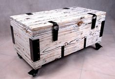 White wooden case made from old amunition boxes